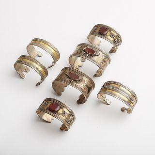 Grp: 7 Turkmen & Afghani Silver Bangle Cuffs