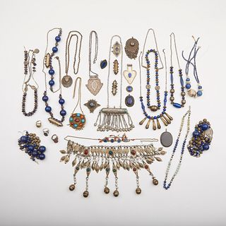 Lrg Grp: 29 Turkmen & Afghani Silver Jewelry
