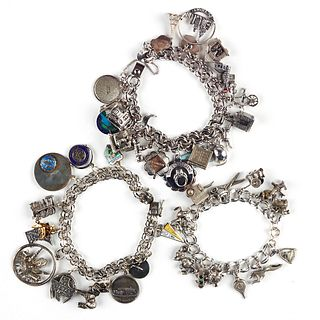 Grp: 3 Silver Charm Bracelets