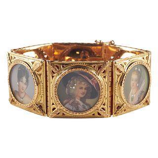 18K Gold Diamond Ruby Emerald Cameo Bracelet
