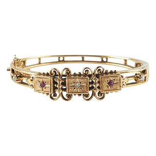 14K Gold Diamond Ruby Pearl Bangle Bracelet