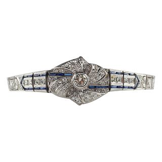 Women's Platinum Diamond & Sapphire Bracelet