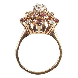 14K Yellow Gold Diamond & Ruby Fashion Ring