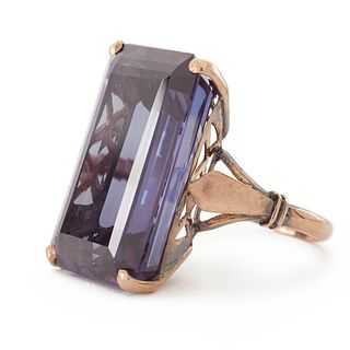14K Rose Gold Synthetic Sapphire Ring
