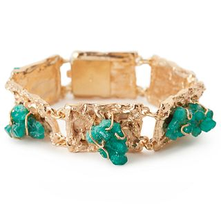14K Yellow Gold Rough Emerald Bracelet