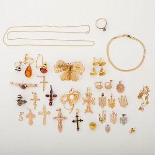 Lrg Grp: 14K Gold Charms and Earrings