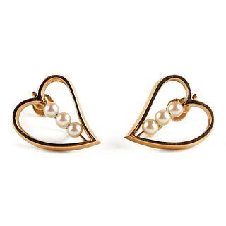 14K Gold Pearl Heart Earrings