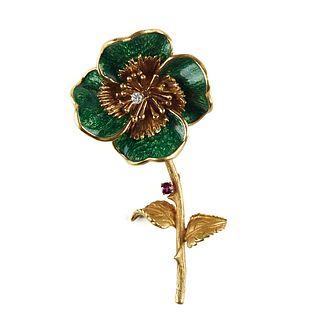18K Gold Green Enameled Flower/Clover Brooch
