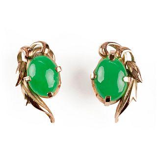 Pair of 14K Gold & Jade Earrings