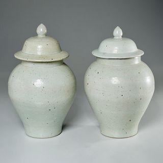 Pair Chinese pale celadon ginger jars