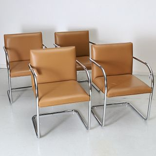 (4) Brno style leather and chrome armchairs
