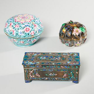 (3) Chinese enameled silver boxes