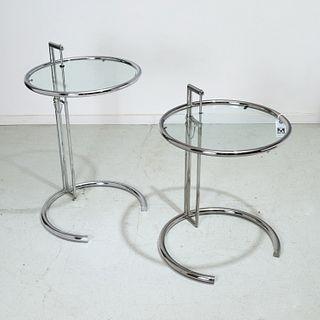 Eileen Gray, pair chrome E1027 side tables