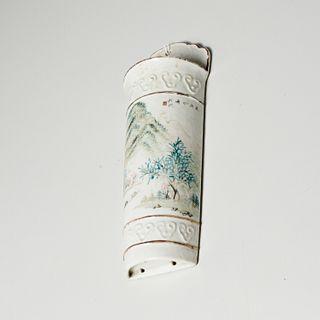 Chinese famille vert porcelain wall pocket