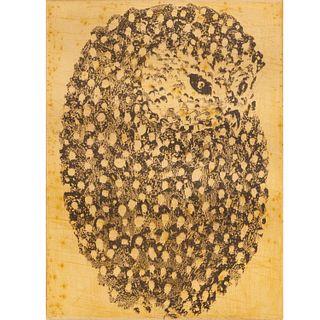 Walter Rudolph Mumprecht, owl etching