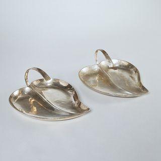 Allan Adler, handmade sterling leaf dishes