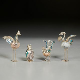 (4) Mexican sterling, turquoise & stone birds