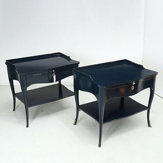 Decorator bronze, blue lacquered side tables