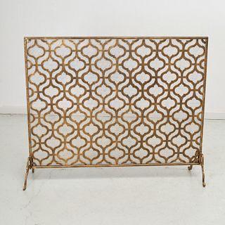 Modern design gilt metal fire screen