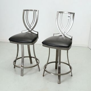 Pair heavy brushed steel counter stools