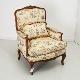Louis XV style bergere with Scalamandre upholstery