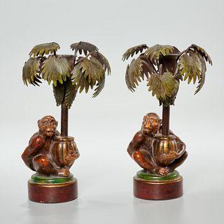 Pair Petite Choses tole monkey candleholders