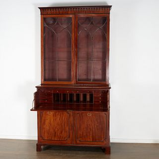 George III figured mahogany secretary bookcase