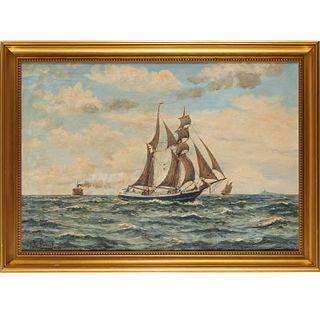 Frantz Landt, maritime painting, oil on canvas