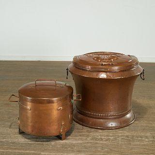 Large antique copper bin and lidded cauldron