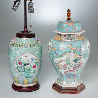 (2) Chinese famille rose porcelain jar lamps