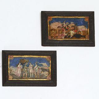 Pair Continental Baroque verre eglomise paintings