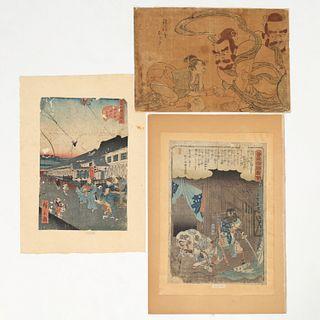 (3) Japanese woodblock prints, 18th & 19th c.