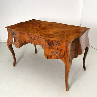 Italian rococo style olive wood writing desk