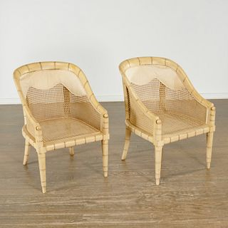 """Pair Regency style caned """"bamboo"""" bergeres"""