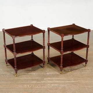 Pair Regency style tiered side tables