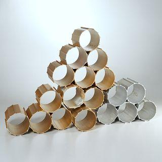 Anodized aluminum sculptural modular wine rack