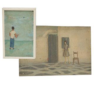 Modern School, (2) portrait paintings