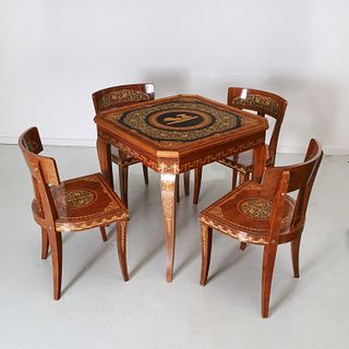 Sorrento inlaid multi-game table and chair set