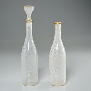 Pair Venini style swirl glass decanter bottles