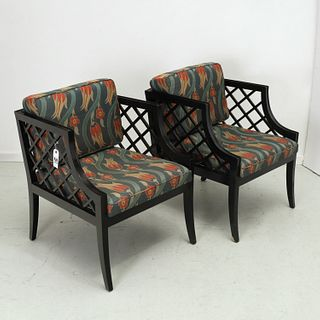 Pair James Mont style lacquered bergeres