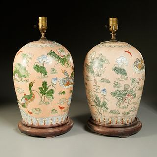 Pair Chinese Export ginger jar lamps