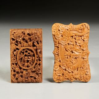 (2) Chinese Export card cases, ex-museum