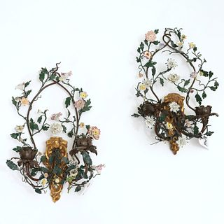 Pair French tole, giltwood and porcelain sconces