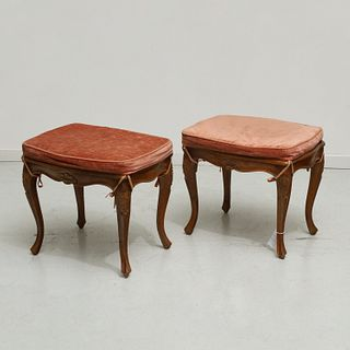 Pair Louis XV style carved walnut stools