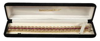 Lady's 14K Yellow Gold Ruby Fancy Tennis Bracelet