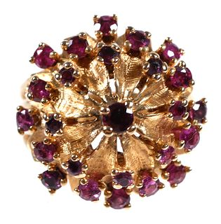 14K Yellow Gold and Ruby Floral Dome Ring