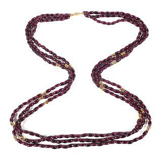 Vintage Garnet 14K Gold 3 Strand Necklace