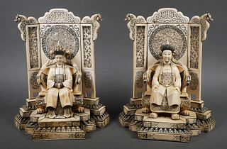 Chinese Ivory Emperor and Empress Sculptures