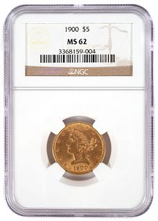 1900 $5 US Half Eagle Gold Coin NGC MS 62
