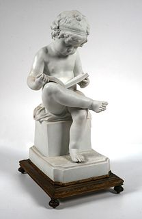 Parian Ware Figure of Boy Reading Book